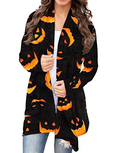 WXDSNH Chaqueta De Mujer Tema De Halloween Impreso Chaqueta De Punto Informal Abrigo De Manga Larga Para Mujer Otoño Invierno