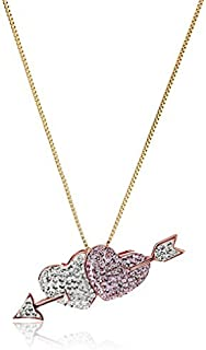 Sterling Silver Rose Gold Plated Double Heart with Arrow Made with Swarovski Pendant Necklace, 18