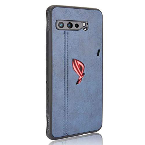 HAOTIAN Hülle für Asus ROG Phone 3 ZS661KS Hülle, Ultra-Slim Silikon Handyhülle Leder-Erscheinungsbild Retro Schutzhülle, Stoßfeste Handy-Tasche für Asus ROG Phone 3 ZS661KS, Blau