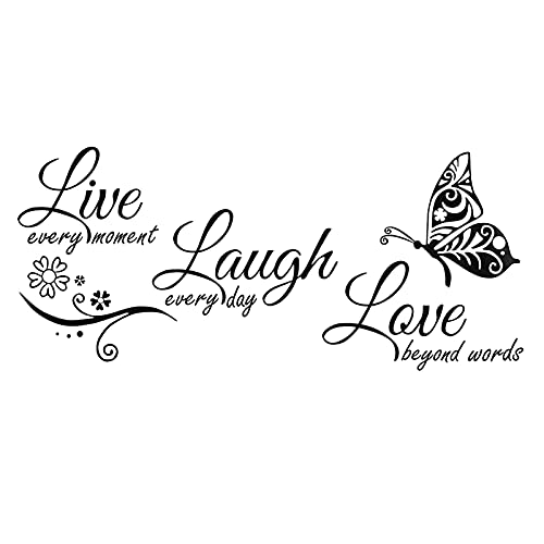 "Vinilo adhesivo decorativo para pared, diseño de texto en inglés ""Live Laugh Love"""