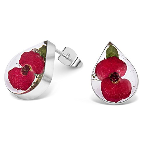 Natural Flower Jewellery Sterling Silver Small Tear Drop Stud Earrings Made with Real Poppies