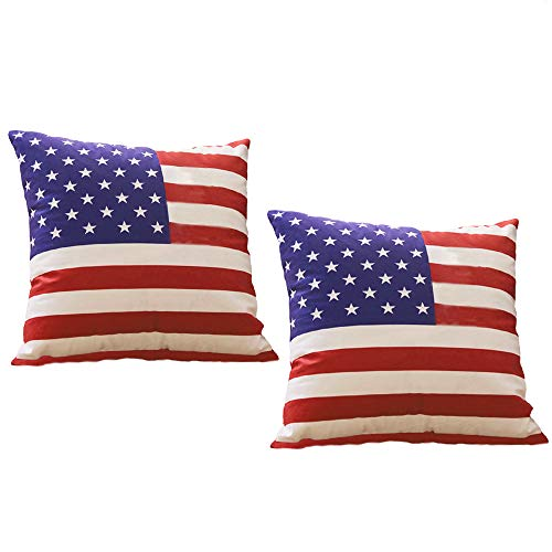 Throw Pillow Covers - 18x18 Flag Cushion Cases - Velvet Soft Patriotic Decorative Square Throw Pillowcase for Independence Day Home Decor Sofa Bed with Invisible Zipper (2 Packs)