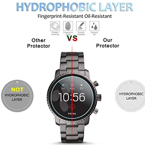 for Fossil Gen 4 Q Explorist HR Screen Protector Tempered Glass - 2PACK Classic Anti Shock & Scratch Military Grade Screen Protective Film for Fossil Gen 4 Q Explorist HR