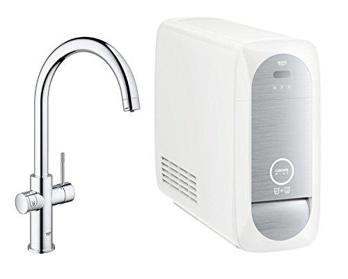 GROHE Blue Home Duo | Küchenarmatur - 2-in-1 TRINKWASSERSYSTEM und Spültischarmatur | gekühlt, gefiltert, mit KOHLENSÄURE C-Auslauf, chrom | 31455000