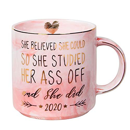 Vilight 2020 Graduation and Congratulations Gifts for Her - Presents for College Nurse Graduated Women - She Believed she could So She Did - Pink Marble Ceramic Coffee Mug 11 Oz