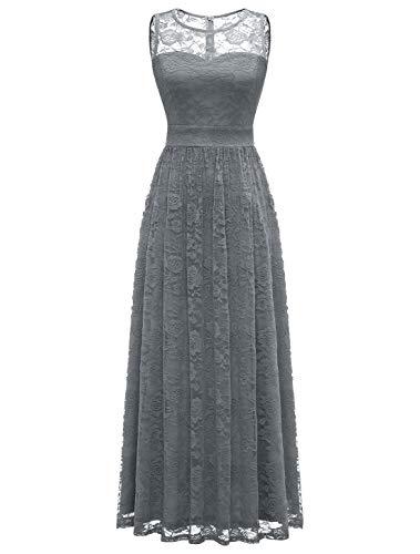 WedTrend Damen Spitzen Lange Brautjungfer Kleid Abendkleid Party Ärmellos Cocktailkleid EWTL10007B-GreyXL