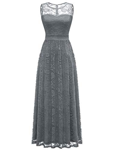 WedTrend Damen Spitzen Lange Brautjungfer Kleid Abendkleid Party Ärmellos Cocktailkleid EWTL10007B-GreyS