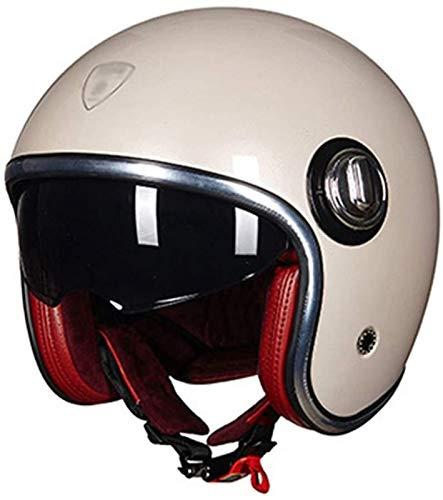 YLFC Casco de Moto Jet, certificación de Seguridad DOTECE Casco de Moto Vintage Cruiser Gafas 3/4 Casco Anti-UV Retro Adulto Hombre Mujer (Color : 4, Size : 2XL)