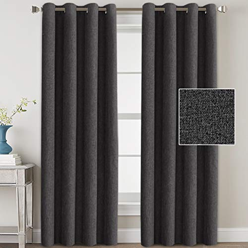Linen Blackout Curtains 108 Inches Long for Bedroom / Living Room Thermal Insulated Grommet Curtain Drapes Primitive Textured Linen Burlab Effect Window Draperies 2 Panels - Charcoal Gray