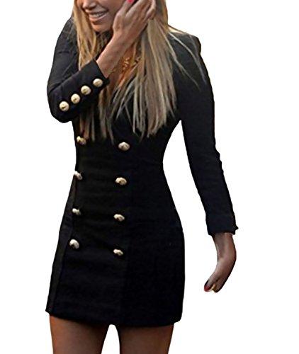 Mujeres Vestidos Cortos Slim Fit Blazers Vestido Bodycon Doble Botonadura Elegante Manga Largos V Cuello Vestir De Tubo Fiesta Casual Color Sólido Oficina Originales Trajes Señora