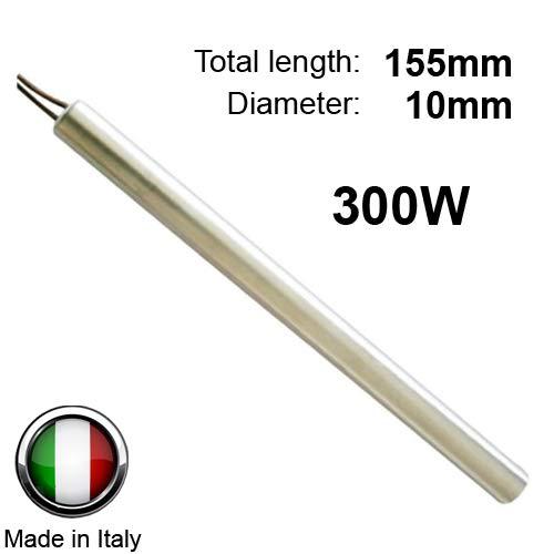 Easyricambi Resistencia bujía Encendido para Estufa de pellets 300 W 155 mm 10 mm; diámetro 10 mm; para EXTRAFLAME TMC del Zotto