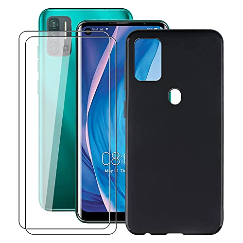 ZXLZKQ Custodia + 2 Pezzi Vetro Temperato Film per Ulefone Note 11P (6.55 Pollice), Glass Pellicola Protettiva e Nero Morbida Silicone Cover TPU Protettiva Case - Black