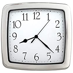 JUSTIME 8.5-inch Quality Square Water Resistant Quartz Wall Clock Water Resistant Special for Small Space, Office, Boats, RV (W40507 Chrome)