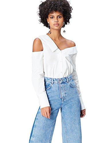 Marca Amazon - find. Camisa de Manga Larga para Mujer, Blanco (Weiß), 40, Label: M