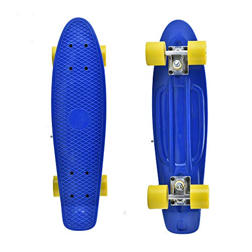 Plastic Cruiser Board - 22 in - for Children or Adults (Blue Board with Yellow Wheels)