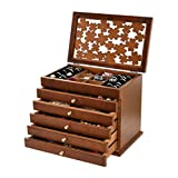 100% Solid Wooden Jewelry Box Case (Dark Brown)