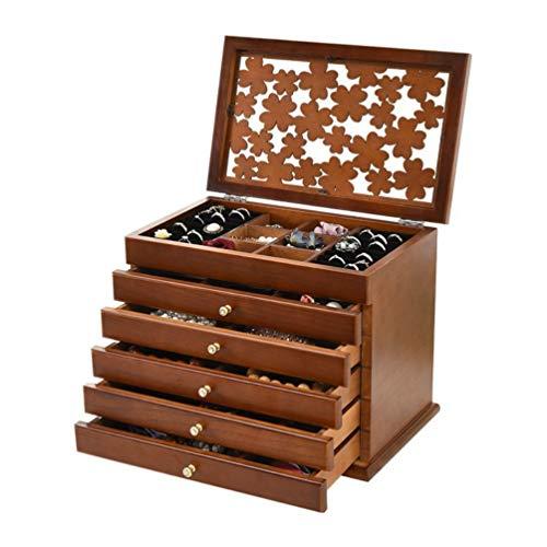 Welcare 100% Solid Wooden Jewelry Box Case (Dark Brown)