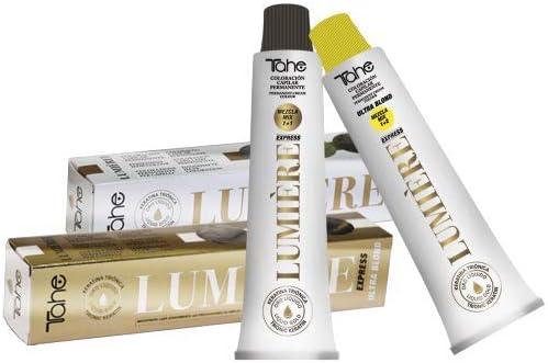 Tahe Lumière Express Tinte de Pelo Profesional Coloración de Cabello Permanente Tinte Negro Tono1 con Keratina Triónica y Oro Líquido 100 ml
