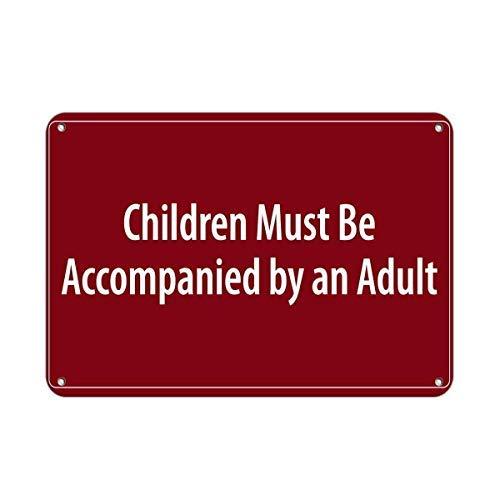 WSMsign Warnschilder für Kinder, Must Be Accompanied by an Adult Pool Warnschilder für Gefahrenhaus, Hausdekoration, Hof, Vorsichtshinweise