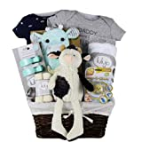 Vania's Baby Gift Basket Baby Boy First Plush Toy - Beautiful Baby Gift Basket - Baby Essentials, Clothes and Toys