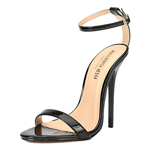 MAIERNISI JESSI Unisex Men's Women's Ankle Strap Stiletto High Heel Dress Sandals Patent Black EU46 - Size 14 Women/12.5 Men