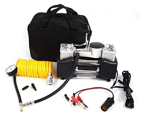 Compresor de aire del inflador de neumáticos de coche portátil para todos los neumáticos, bomba de compresor de aire de vehículo eléctrico universal 12V con 3 adaptadores para automóvil, bicicleta, pi