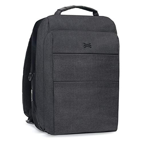 TORU BX Commuter Slim 15.6-inch Laptop TSA Friendly Business Travel Backpack with USB Charging Port, Scratch Resistant, RFID Blocking Card Pocket for Men & Women - Charcoal Gray