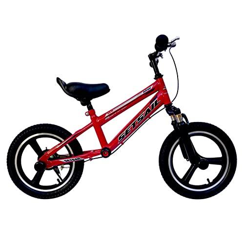 ERLAN Bicicletas sin Pedales Niños Grandes Bicicleta Sin Pedales Rojo, Neumáticos de Aire de 14/16 Pulgadas Bicicletas de Entrenamiento para 5/7/9/10/12 Años, Asiento y Manillar de Altura Ajustable