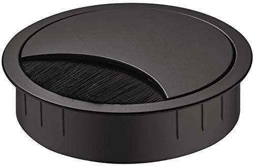 Gedotec Cable entrada escritorio salida negro - SAMOS | Enrutamiento de cables de metal para empujar Orificio - salida cable acero redonda muebles de oficina, mesa perforación | Ø 80 mm | 1 pieza
