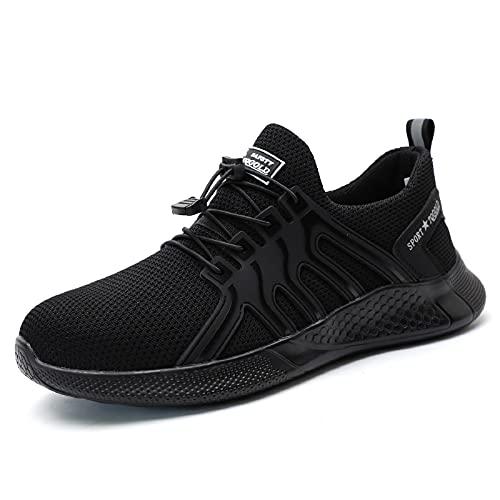AONEGOLD Chaussure de Securité Homme Femmes Légères Chaussures de Travail Protection Embout en Acier Antidérapante Anti-Perforation Industrie Sneakers(Noir,Taille 40)