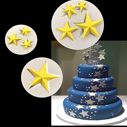 B07K82C8TZ Lot de 3 moules en silicone en forme d'étoile 3D en forme d'étoiles
