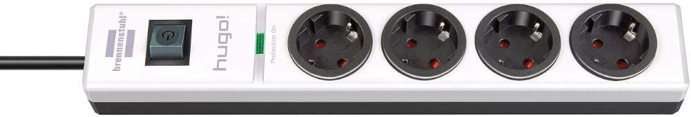 Brennenstuhl hugo! regleta enchufes con 4 tomas y protección sobretensiones hasta 19.500 A (cable de 2 m de largo, interruptor, protección antirayos, montable) antracita: Amazon.es: Bricolaje y herramientas