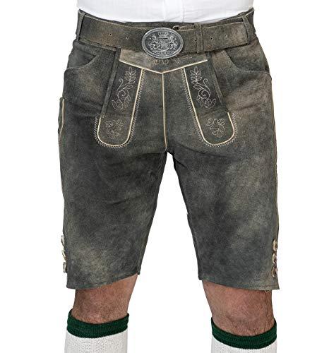 Herren Vintage Lederhose Schwabing kurz - Trachtenlederhose Antik inkl. Trachtengürtel Modell Schwabing (52)