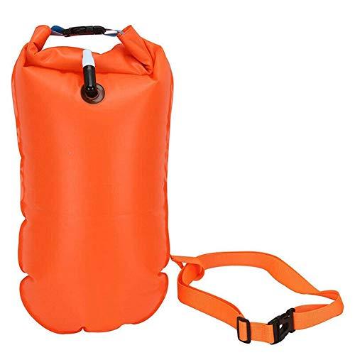 Elibeauty Flotador inflable naranja de la flotación del agua abierta de la boya del dispositivo de la bolsa de aire seco de la boya de la remolque de la flotación de la