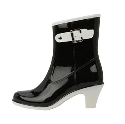 LvRao Damen Wasserdicht Regen Stiefel Hohe Knöchel Boots Gummistiefeln der Frauen Glatt Stiefeletten Schwarz Etikett LL, EU 40