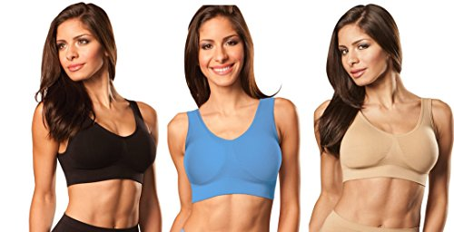 Genie Bra (3 Pack Womens Seamless, Wireless Bra, As Seen On TV, with Removable Pads for Extra Lift (Black/Powder Blue/Nude, Medium)