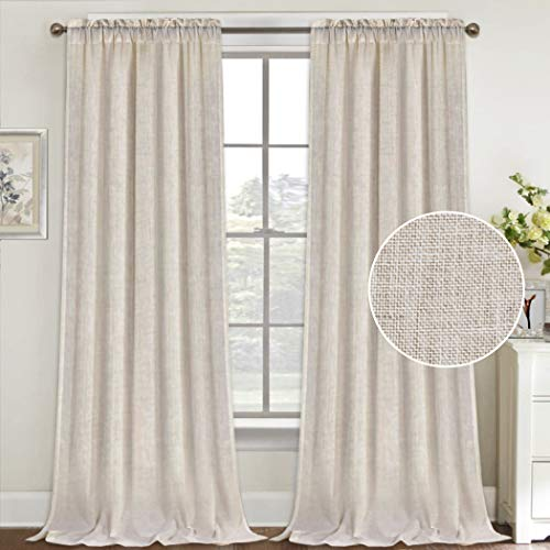 Natural Linen Curtains 108 Inches Extra Long Rod Pocket Semi Sheer Curtain Drapes Elegant Casual Linen Textured Window Draperies, Light Filtering Privacy Added Home Fashion 2 Panels, Angora