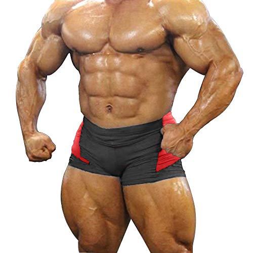palglg Herren Bodybuilding Posing Trunks Spandex und Lycra Shorts - Schwarz - Large :Taille 33.5''/37.4''