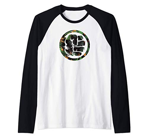 Marvel Hulk Fist Smash Logo Tropical Pattern Camiseta Manga Raglan