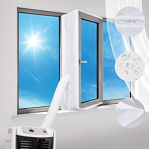 Guarnizione Universale per Finestre,kit per finestre portatile per Condizionatore Portatile,Finestra Universale per Climatizzatore, Asciugatrice, Facile de Montare, con Zip, Velcro (bianca)