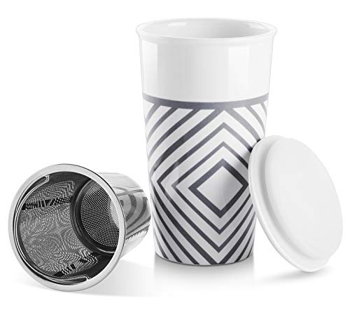 LIFVER Ceramic Tea Infuser Cup with Infuser and Lid, 18 Oz Porcelain Tea Mug for Steeping, Double-wall Ceramic Thermal Tumbler, Sealed Lid for Spill Prevention, Artistic Exotic Pattern, Blue
