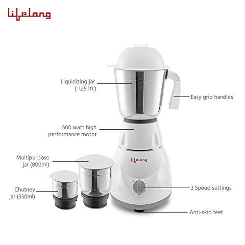 Lifelong PowerPro 500 Watt 3 Jar Mixer Grinder and 1100 Watt Dry Iron and mixer grinder