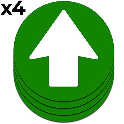 Pfeile Aufkleber Für den Boden | 4 Einheiten 16,5 cm (Grün)