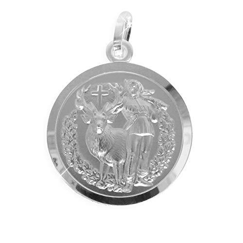 Heiliger Hubertus von Lüttich Patron der Jagd Jäger Anhänger Ø18mm Sterling Silber 925 (Art.213233) Gratis Express Gravur