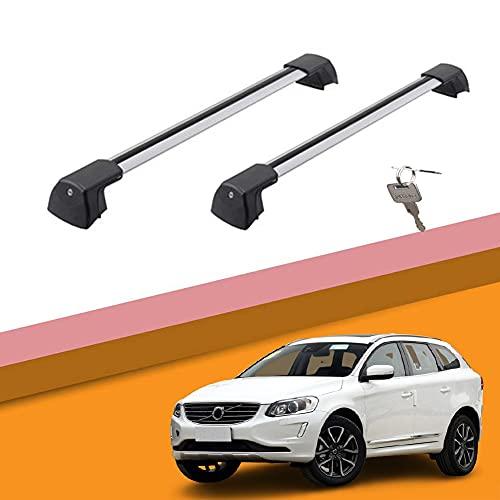 Ajuste Personalizado para Volvo XC60 Barras De Carga Barras De Techo Baca Portaequipajes Barras Portaequipajes De Coche para Volvo XC60 2015-2021 (Color : Sliver-b, Size : For Volvo Xc60 2017)