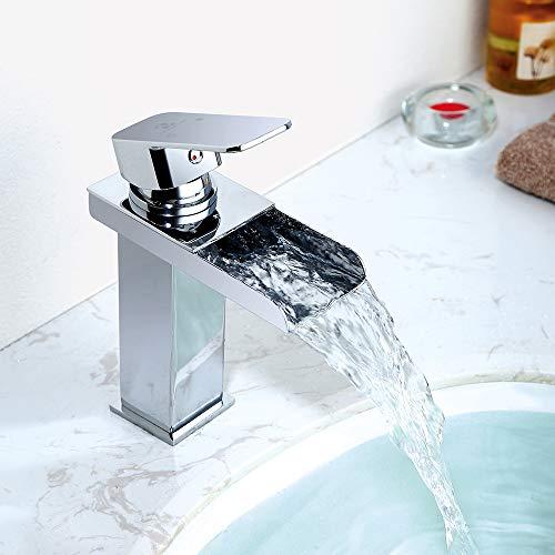 Homelody Wasserhahn Bad Wasserfall Wascbecken Armatur Badarmatur Mischbatterie Waschtischarmatur Waschbeckenarmatur Waschtischmischer für Bad…