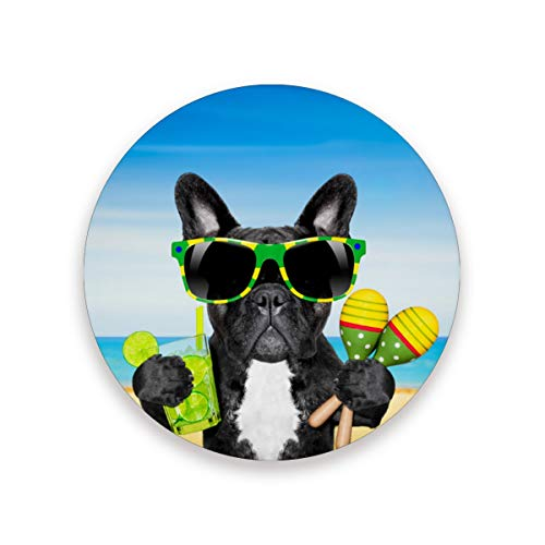LUPINZ - Posavasos de cóctel con diseño de bulldog francés de Brasil para bebidas, posavasos perfecto para cualquier tamaño de copas de beber que evitan que los muebles se ensucien y se rayen, madera, 1, 4 pieces set