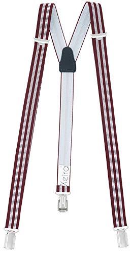 Xeira Hosenträger Rot Weiß Gestreift für Herren und Damen mit 3 stabilen Clips 25mm Breit 110cm Länge