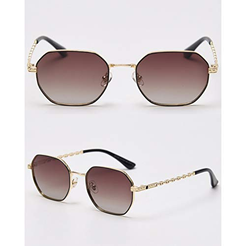 SXRAI Gafas de Sol polarizadas Uv400 para Hombre, cuadradas, pequeñas, con Cadena de Metal, para Mujer, Gafas de Sol,C3