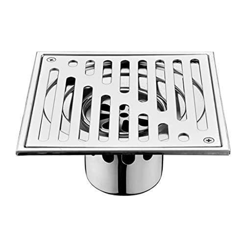 TEBI Acero inoxidable ducha cuadrado drenaje tapón de la cubierta trampa anti-olor baño piso colador rejilla residuos azulejo inserto filtro
